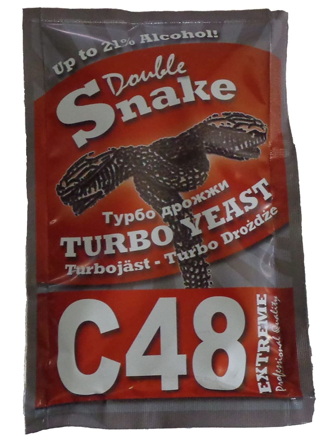 Amazon.com: Double Snake C48 Turbo Yeast 25L 14%-21% ABV Homebrew Vodka Wash Moonshine: Kitchen & Dining