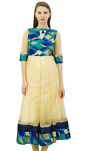 Bimba diseñador de Las Mujeres Anarkali Kurta Kurti India étnicas Larga Acampanada Blusa del Vestido
