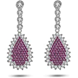 Caperci Sterling Silver Cubic Zirconia and Created Gemstone Pear Dangle Earrings for Women
