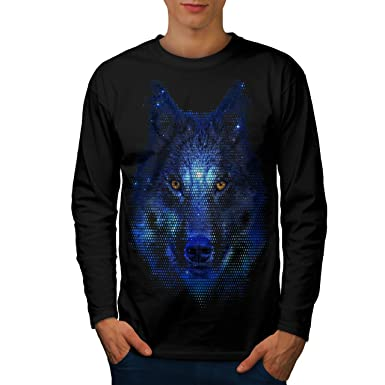 16bd63135 wellcoda Forest Wolf Pixel Life Mens Long Sleeve T-Shirt, Movie Graphic  Print Black