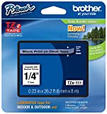 "Genuine Brother 1/4"" (6mm) Black on Clear TZe P-Touch Tape for Brother PT-6100, PT6100 Label Maker"