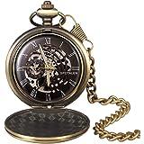 Relojes de Bolsillo Retro Suave Mecánico Skeleton Roman Numerales Antiguo Reloj de Bolsillo para…