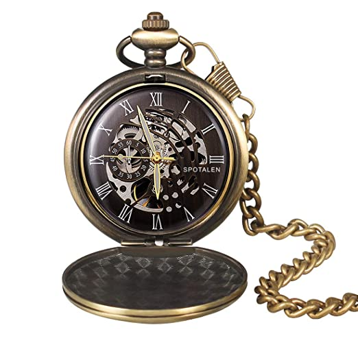 Reloj de Bolsillo mecánico clásico Vintage Liso y Cadena para Hombre números Romanos Antiguo Bronce Fobo Reloj con Esfera Negra: Amazon.es: Relojes