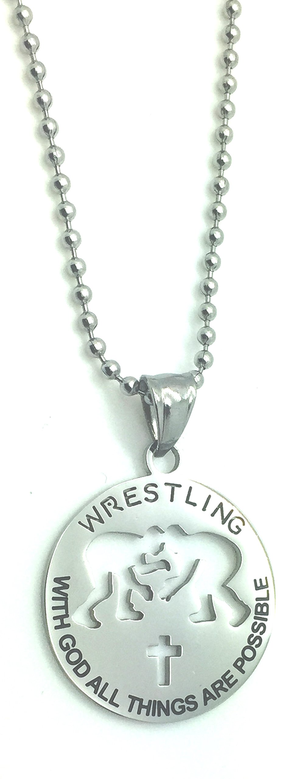 Ben Junot Christian Stainless Steel Sport Medal Necklace - Chain Included with God all things are possible Christian Sport Medal (Wrestling)