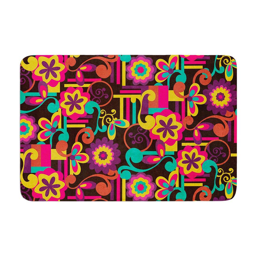 Kess InHouse 'Louise Machado Arabesque Floral Bright Colorful Memory Foam Bath Mat, 17 by 24'