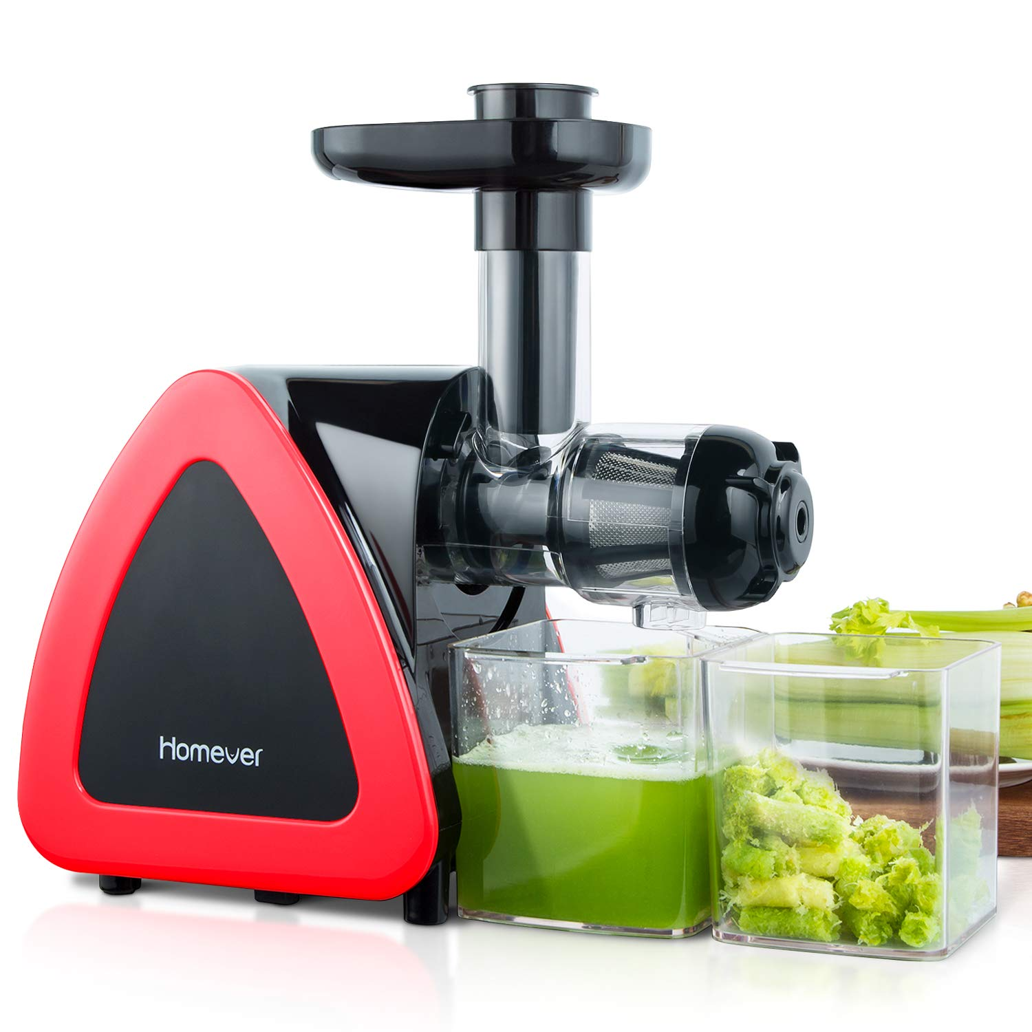 Homever Juicer Machines, Slow Masticating Juicer for Fruits and Vegetables, Quiet Motor, Reverse Function, Easy to Clean Hight Nutrient Cold Press Juicer Machine with Juice Cup & Brush, BPA-Free by Homever (Image #2)