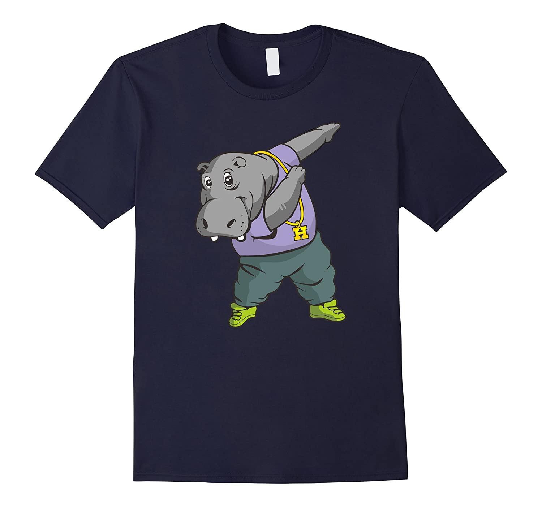 Hippo dabbing T-shirt Funny Dab Dance Gift Tee Shirt-Vaci