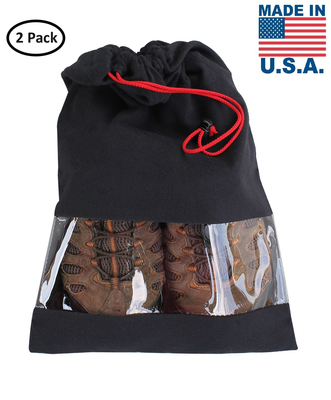 Earthwise Shoe Storage Bags Travel 100% Cotton with Drawstring & Clear Window Made in the USA (Set of 2) …