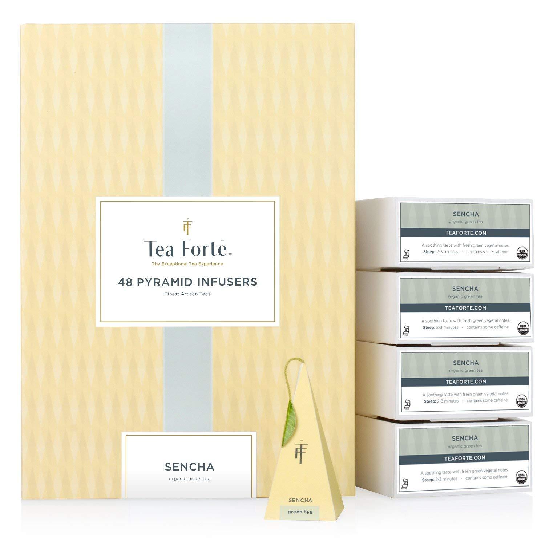 Tea Forte BULK PACK Sencha Green Tea, 48 Handcrafted Pyramid Tea Infusers