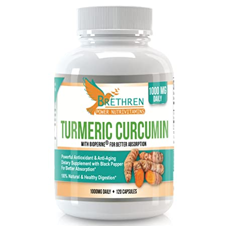 Brethren Power Nutrivitamins Premium Grade Turmeric with BioPerine for Optimal Absorption by Brethren Power NutriVitamins – Anti-inflammatory, Anti-Aging, Antioxidant – 100 Natural, Made in USA