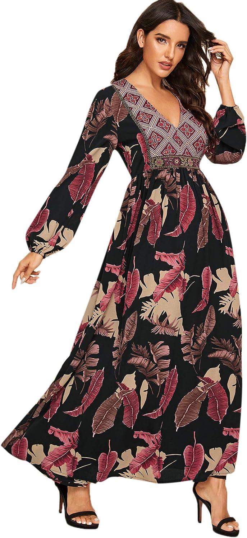 MakeMeChic Women's Tribal Leaf Print Bishop Sleeve A Line High Waist Maxi Dress
