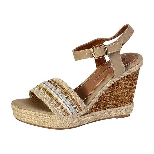 c4350e434e7 The Divine Factory Sandales Compensée Femme Beige  Amazon.fr  Chaussures et  Sacs