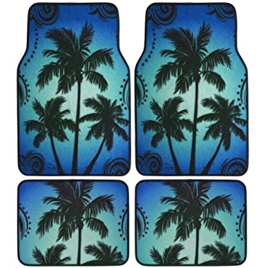 BDK Palm Tree California Carpet Floor Mats for Car SUV - 4 Piece Set, Blue, Licensed Prodcuts, Secure Backing