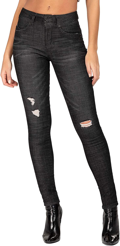 YMI Womens Junior Wannabettabutt 2 Button Mid Rise Denim Skinny Jeans