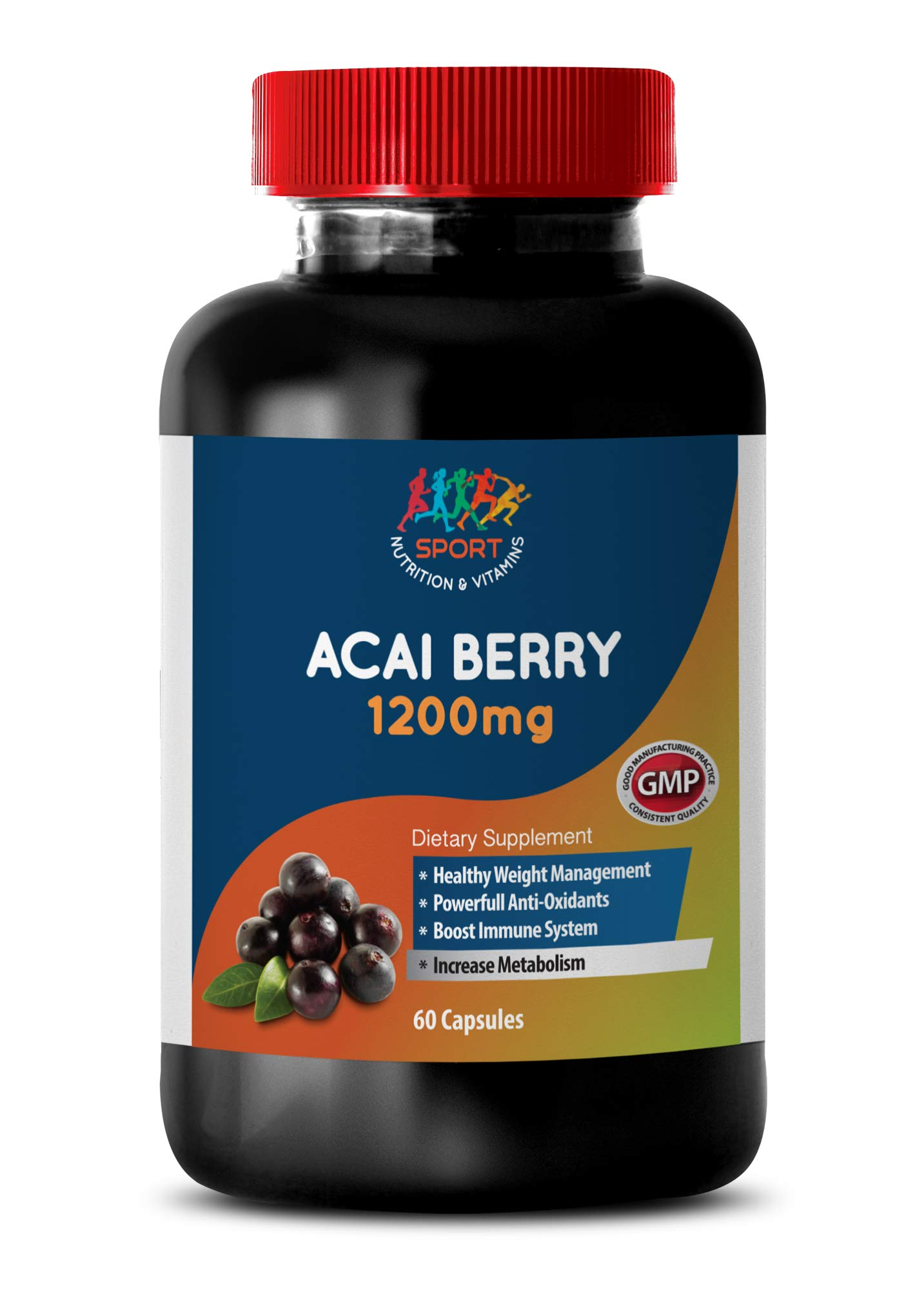 Immune Support Supplement - ACAI Berry 1200 mg - Dietary Supplements - acai Juice - 1 Bottle (60 Capsules)