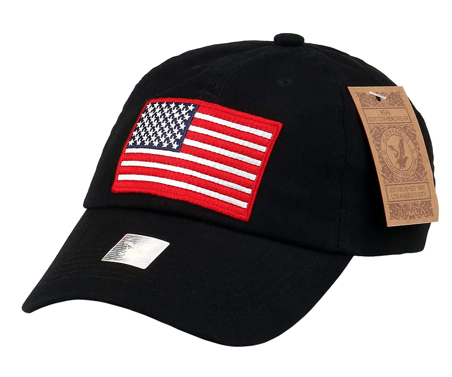 RufNTop Black Eagles American Flag Cap 100% Cotton Classic Dad Hat Plain Baseball  Cap(Wash Black One Size) at Amazon Men s Clothing store  bc4680ccebb