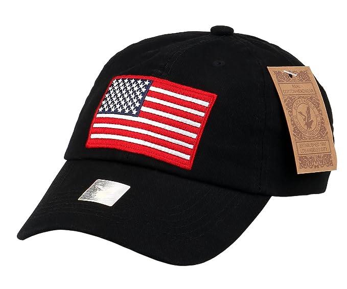 24fec3d8d86cf RufNTop Black Eagles American Flag Cap 100% Cotton Classic Dad Hat Plain Baseball  Cap(