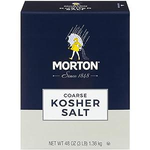 Morton Kosher Salt, Coarse, 3 Pound Box (Pack of 12)