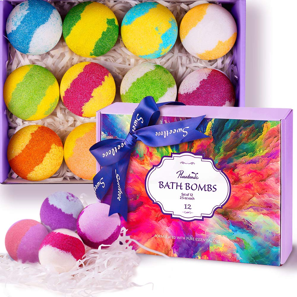 Bath Bombs Gift Set, Plantonic Multi-Colored Vegan Bath Bomb Kit in Luxurious Gift Box with Organic Essential Oils, Exclusive Floating Fizzies with Rich Bubbles, Pack of 12