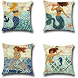 LEIOH Mediterranean style Mermaid Beach Decor Cotton Linen Decorative Throw Pillow Case Cushion Cover Sets of 4 18X18 Inches