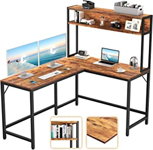 CubiCubi L-Shaped Desk with Hutch,59