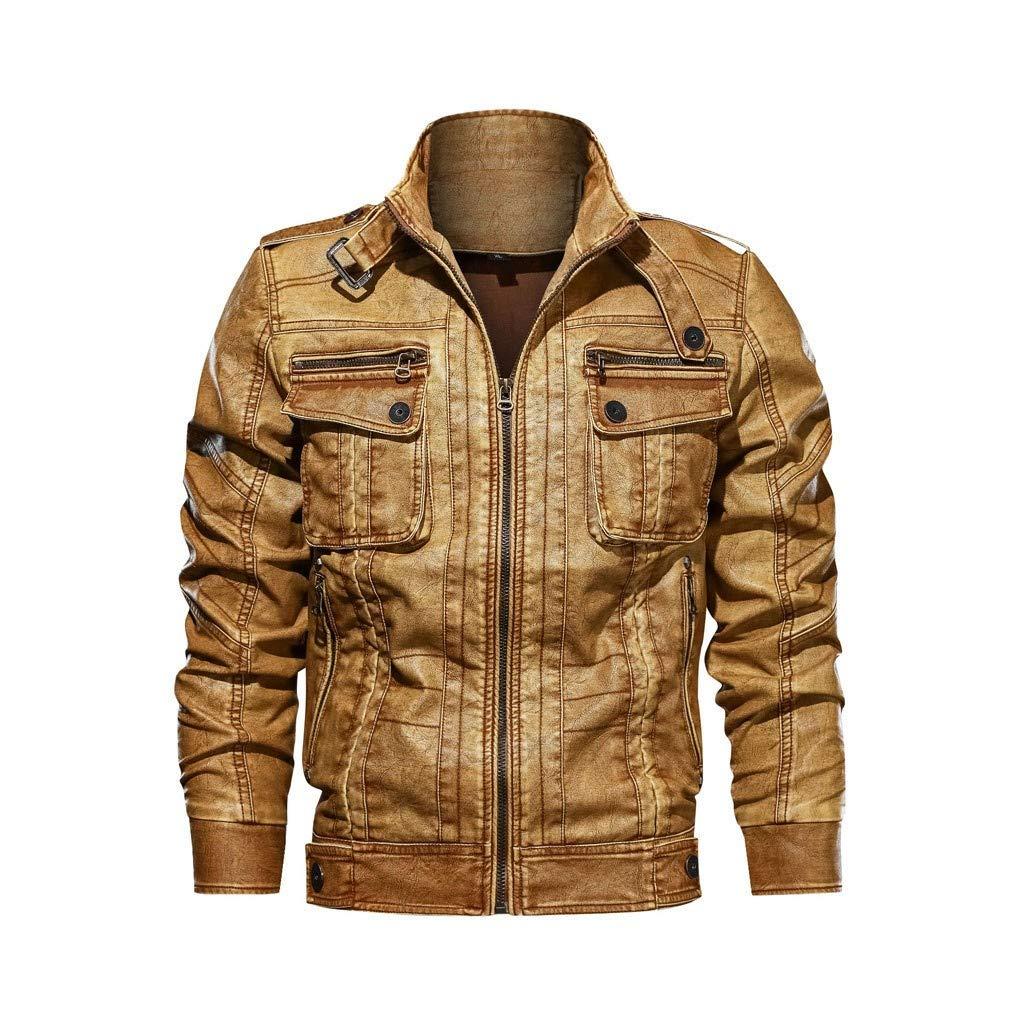Bravetoshop Men's Vintage Stand Collar Zip Lightweight Faux Leather Biker Jacket Distressed Motorcycle Outwear(Yellow,XXXL) by Bravetoshop