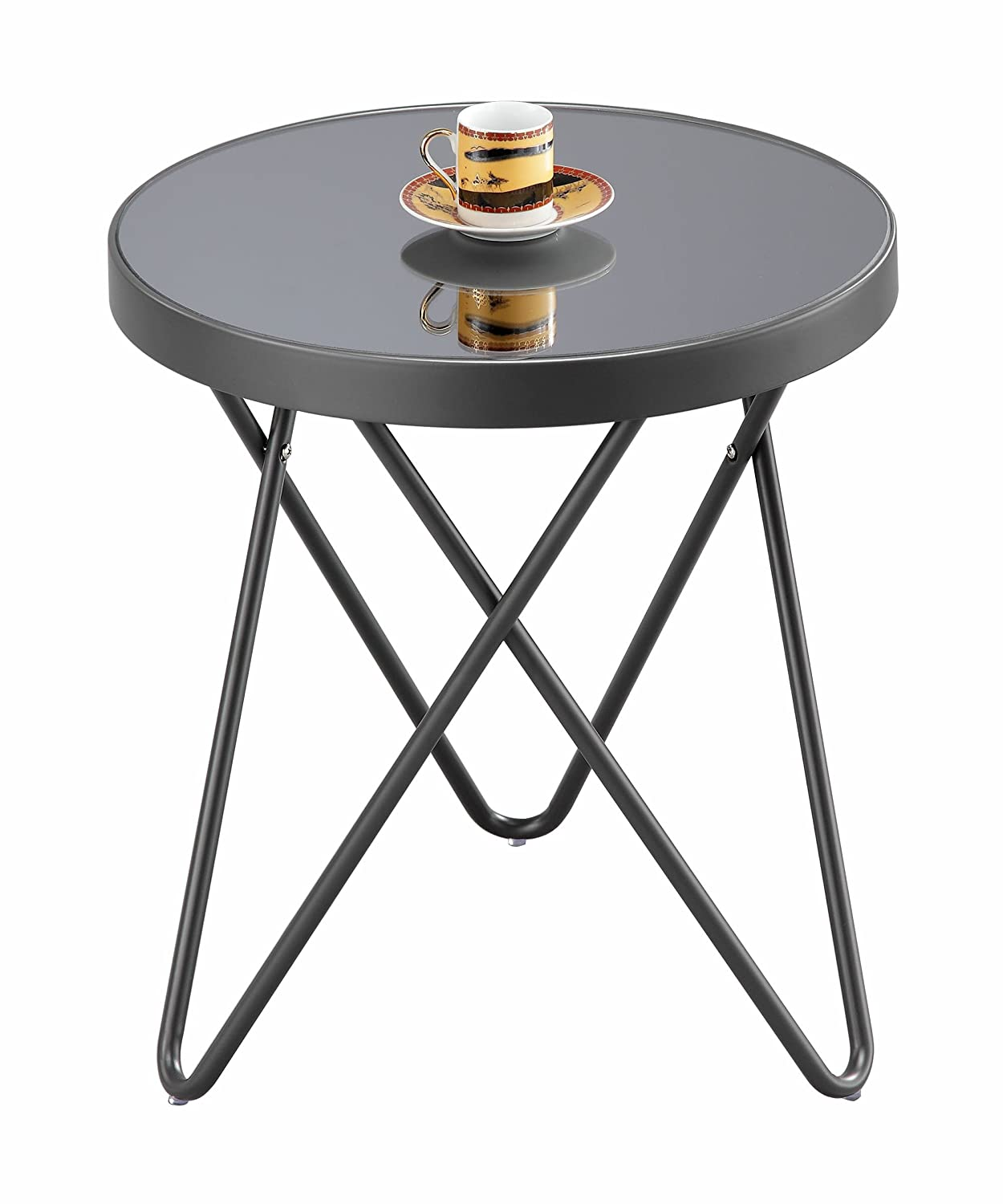 ASPECT Puccini Mirrored/Glass Round Side/Coffee/End/Lamp Table, Metal, Copper ST15MR