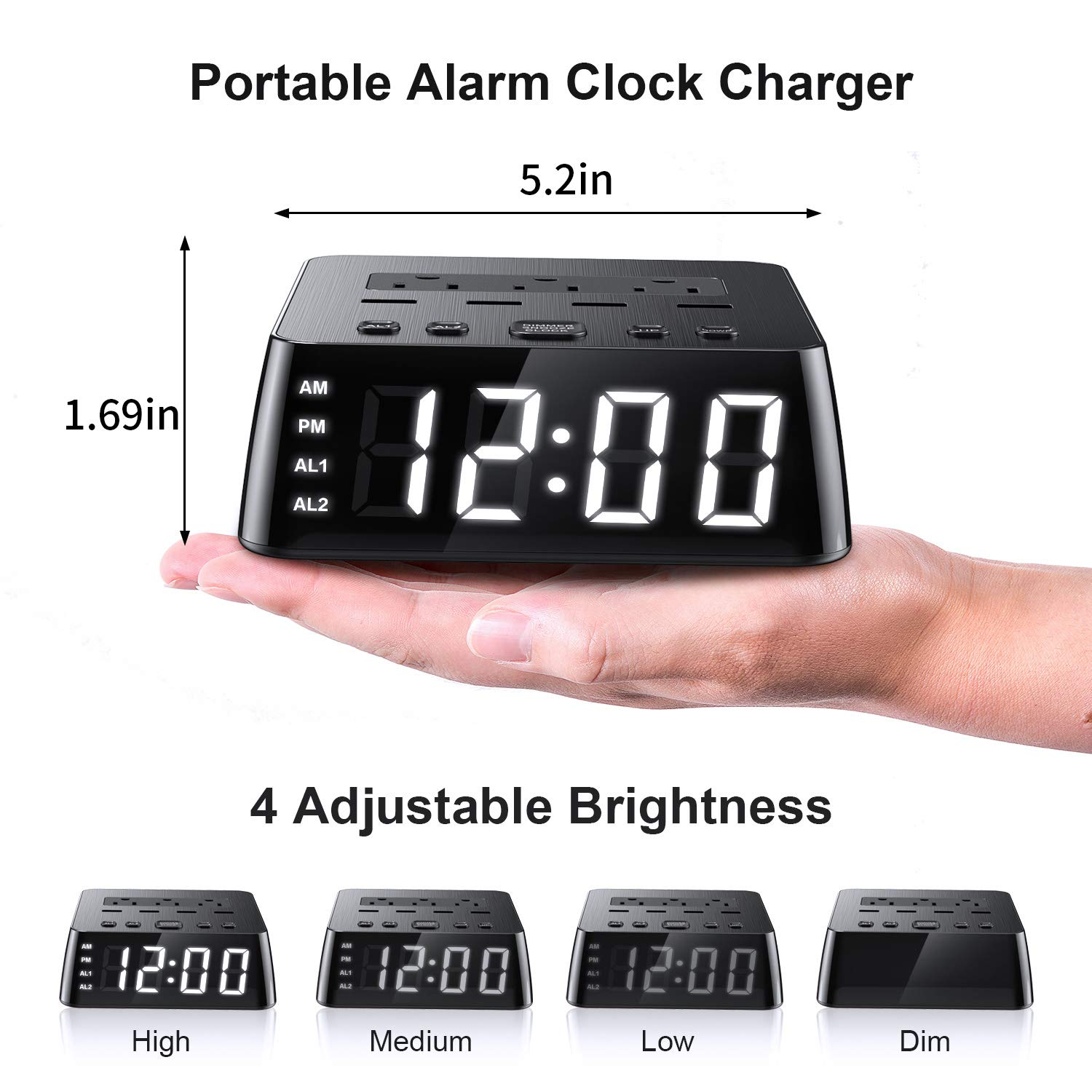Yostyle Alarm Clock Charger w/4 USB Ports & 3 AC Outlets, 6ft Power Cord Charging Station Power Strip for Hotel Home,UL Tested (Dual Alarm,4 Dimmer Brightness,Snooze,ON/Off Switch,Battery Backup)