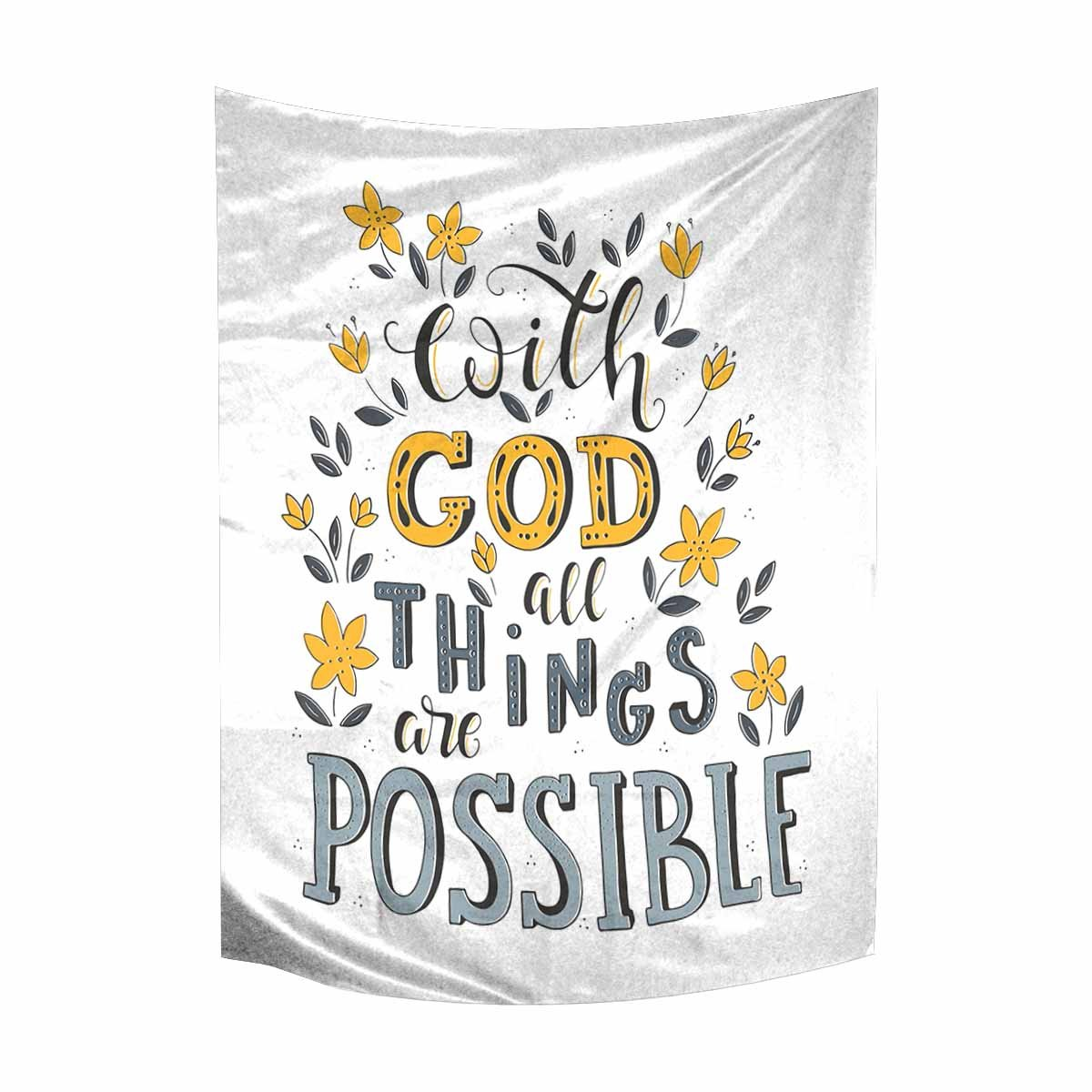 InterestPrint Christian Bible Verse With God All Things Are Possible Tapestry Wall Hanging Cotton Linen Tapestries Art for Bedroom Dorm Home Decor, 60 W X 80 L Inches