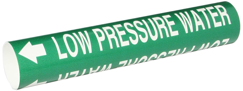 Legend Low Pressure Water Legend Low Pressure Water B-915 Brady 4243-C Bradysnap-On Pipe Marker White On Green Coiled Printed Plastic Sheet