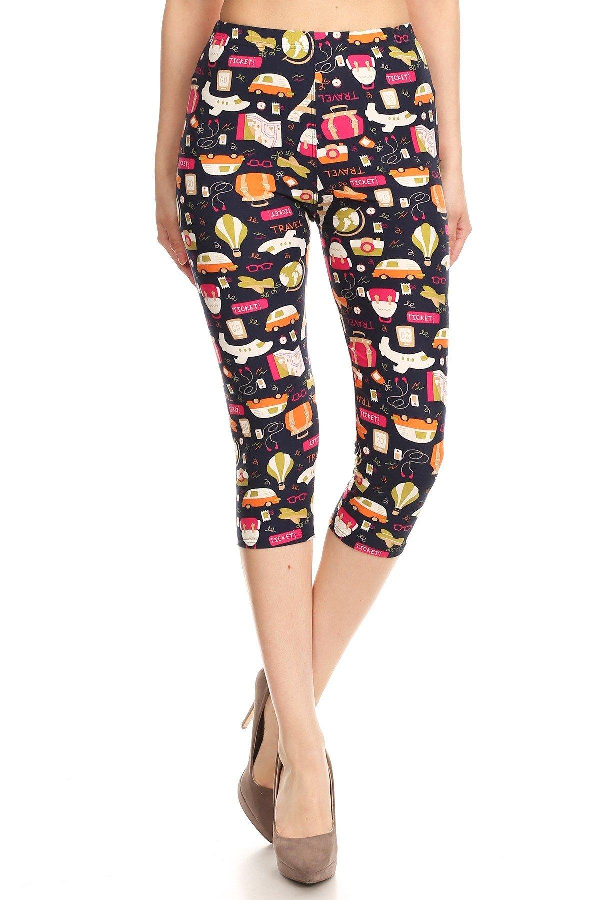 iZZYZX Women's Plus Colorful Travel Ticket Theme Printed Cropped Capri Leggings