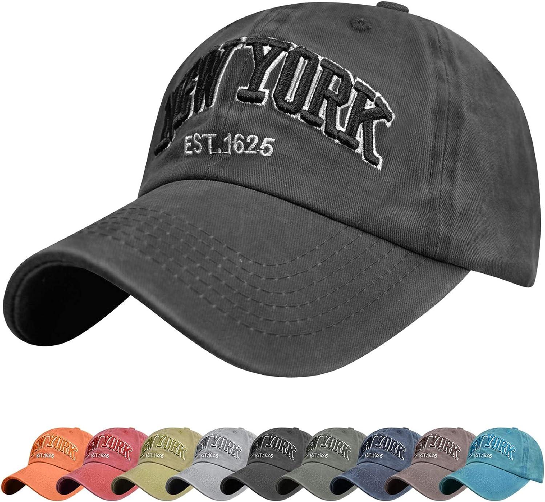 Voqeen Gorra de Beisbol Sombrero de Gorra Ajustable con Bordado New York Gorra de Vintage Algod/ón de Verano al Aire Libre Cap para Hombres Mujeres