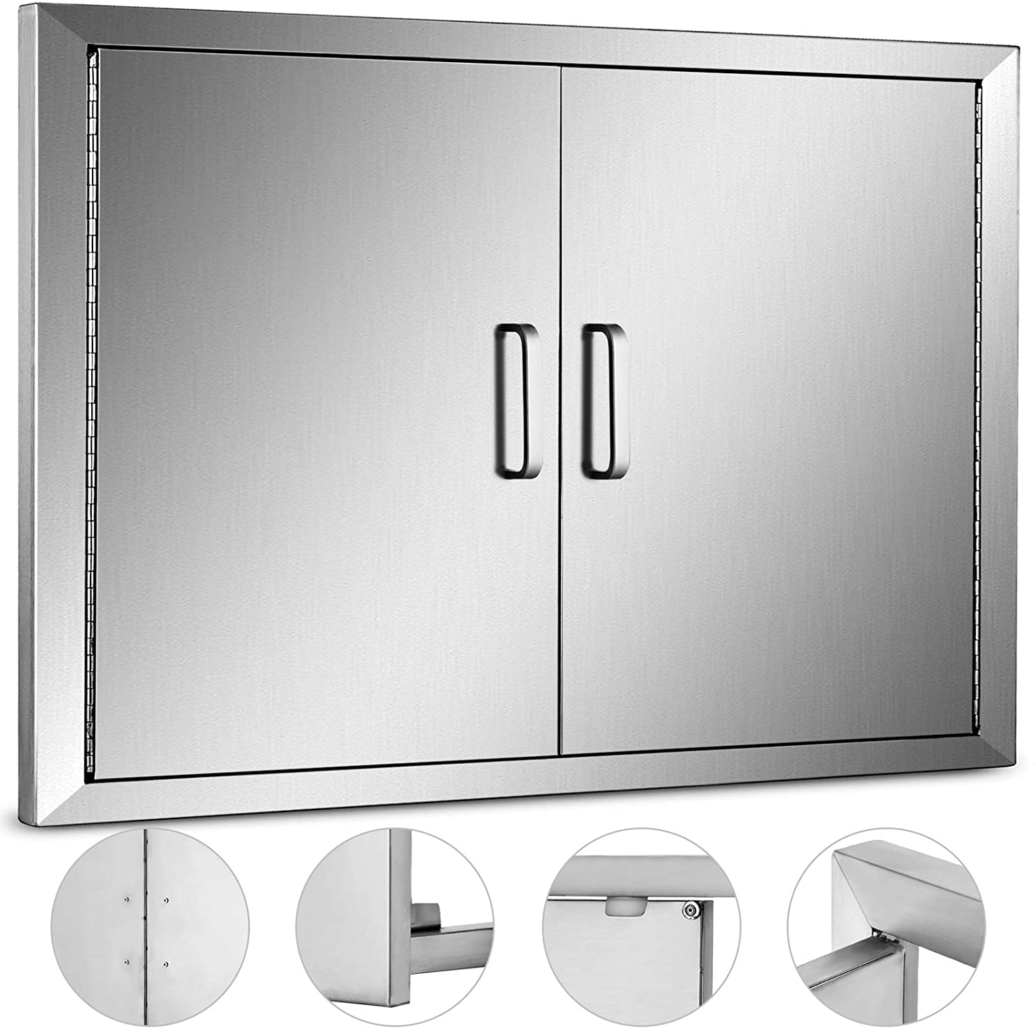"""Mophorn Double Wall BBQ Access Door Cutout 31"""" Width x 24"""" Height BBQ Island Door w/Brushed Stainless Steel Perfect for Outdoor Kitchen or BBQ Island"""