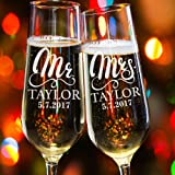Lily's Atelier Set of 2, Hand Engraving Mr. Mrs. Last Name & Date Custom Wedding Toast Champagne Flute Set, Wedding Toasting Glasses - Etched Flutes for Bride & Groom Customized Wedding Gift #E11
