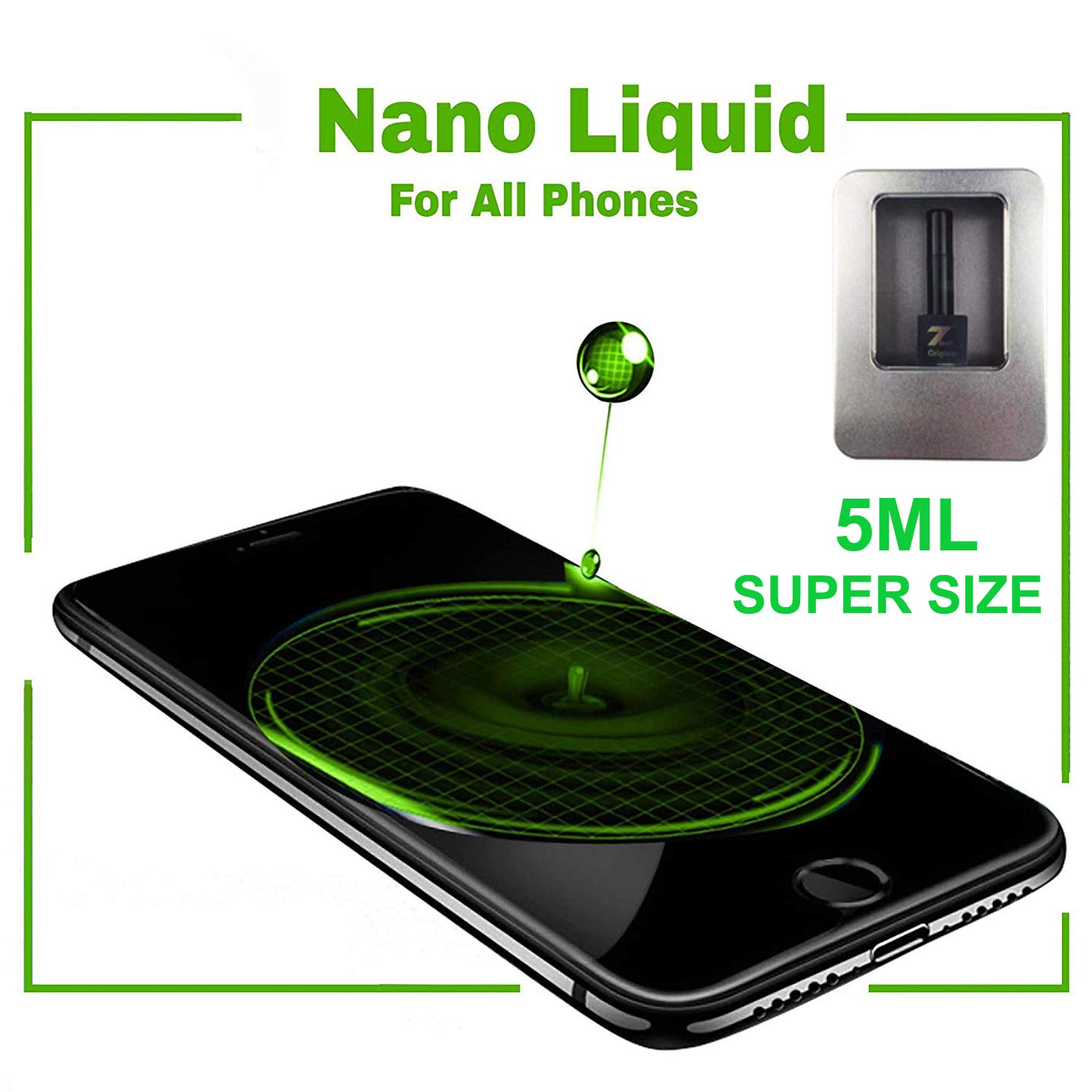 Original Nano Liquid Screen Protector, Scratch Resistant 9H Hardness for All Smartphones, Tablets, Watches Glasses, Cameras. Nano Coating (Aluminium, 5 ml XL Super Size) by 7TECH