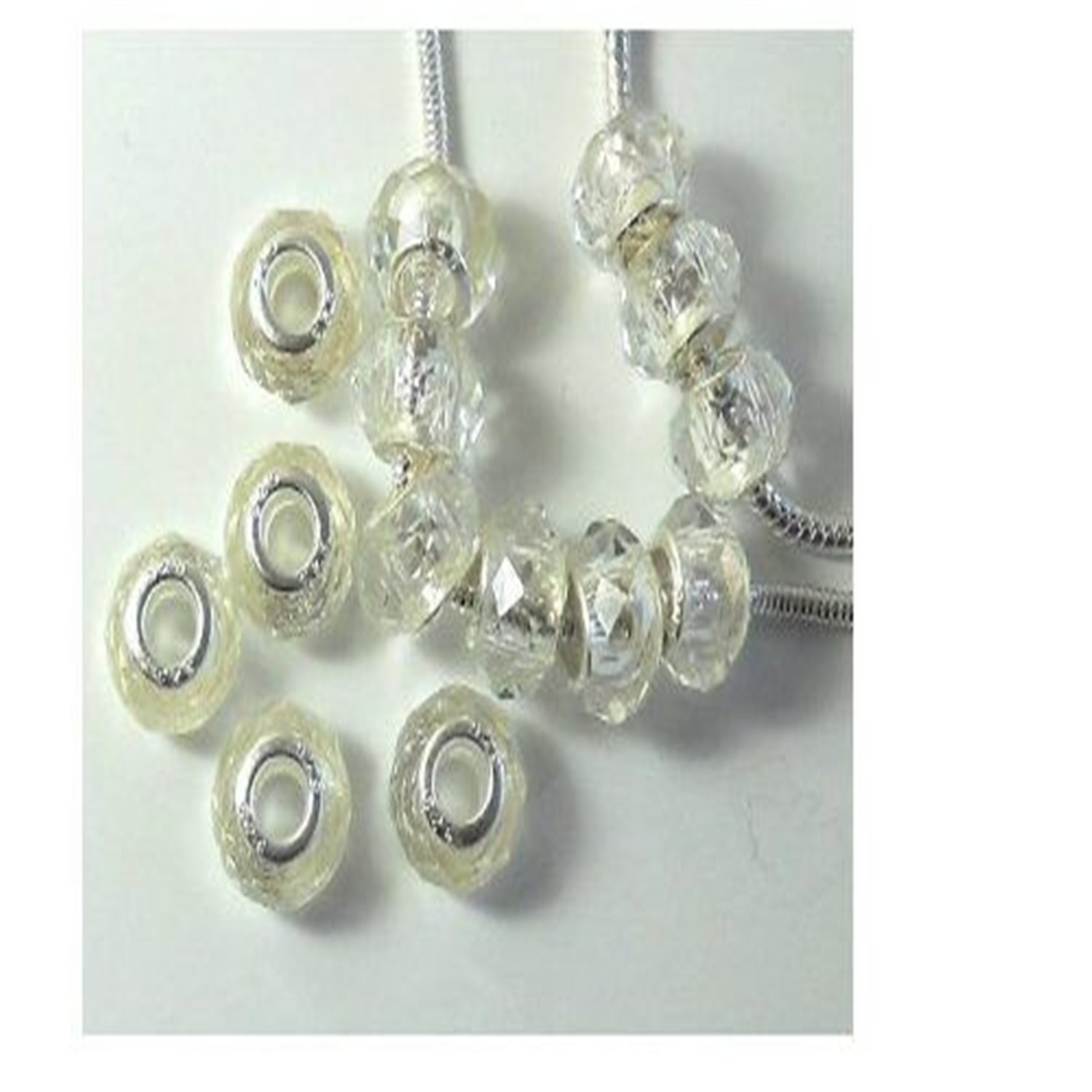 14 Beads Faceted Crystal Glass Large 5.5mm Hole Silver Core Clear Compatible with Pandora, Biagi, Troll, Chamilia, Caprice, Dione Chains