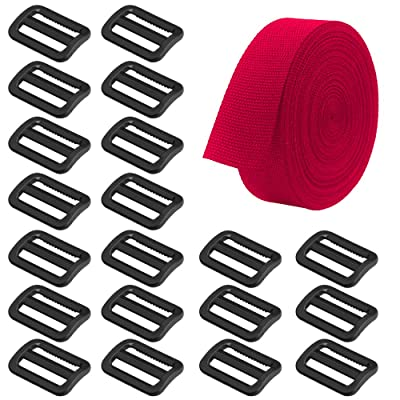 SourceTon Heavyweight Polypropylene Webbing Red 1 Inch by 10 Yard & 20 Pieces Plastic Triglide Slides, Heavy Duty Poly Strapping (Red), Tri-Glide Slides(Black) for Outdoor DIY Gear Repair: Sports & Outdoors