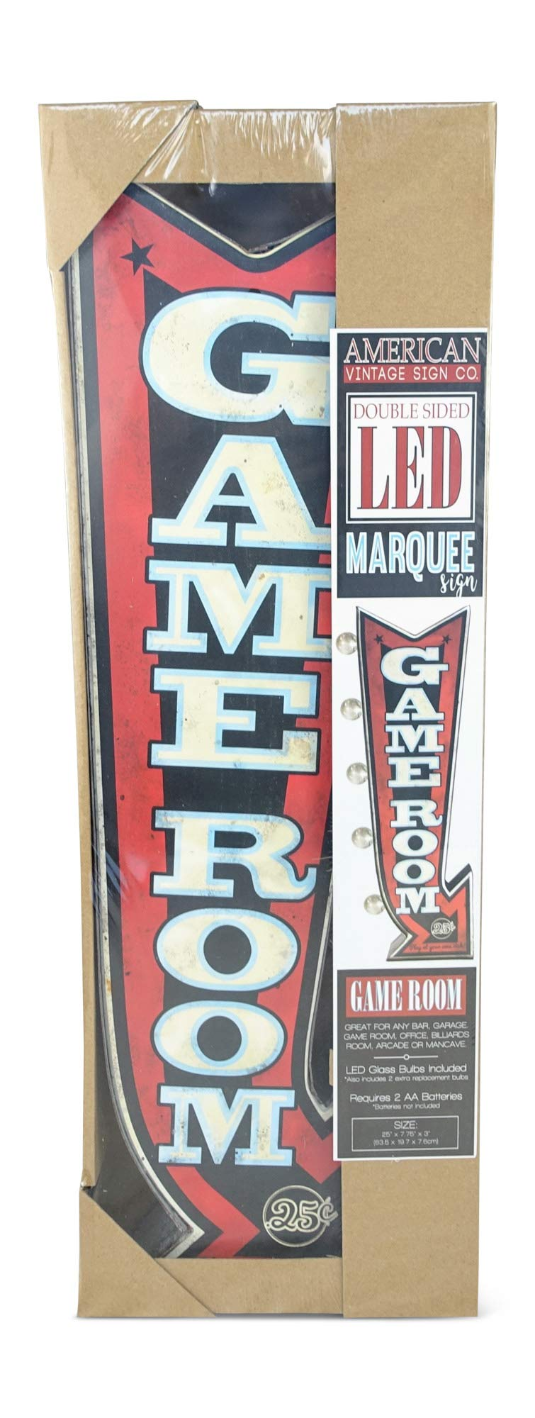 Game Room LED Sign, Large 25'' Double Sided Red Arrow Sign with Large Marquee Style LED Light Bulbs, Battery Operated Wall Decor with A Retro Distressed Design