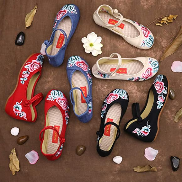 CINAK Floral Embroidered Shoes for Women Comfortable Loafer Black Casual Round Toe Ballet Flats Shoes