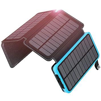 ADDTOP 25000mAh Cargador Solar Portátil Impermeable Power Bank con 4 Paneles solares Carga rápida Durante Aproximadamente 30 Horas