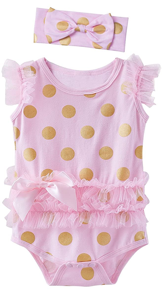 Mombebe Baby Girls' Lace Tutu Dress Bodysuit with Headband