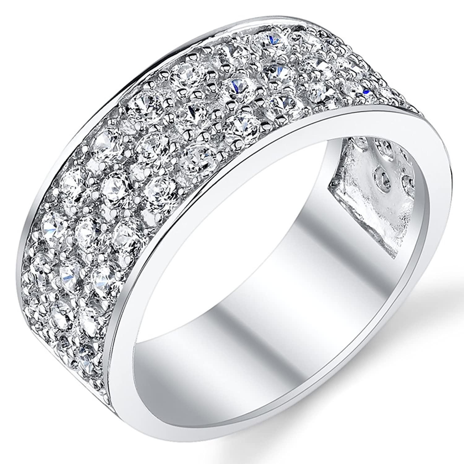 Sterling Silver Menu0027s Wedding Band Engagement Ring With Cubic Zirconia CZ  9MM 3 Row Sizes 7 To 13|Amazon.com