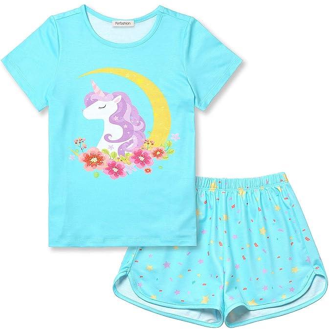 Amazon.com: Pijamas de unicornio/sirena para niña de verano ...