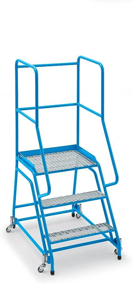 Escalera, móvil, con rejilla, 3 niveles de entramado – Escaleras y patadas y pie Escaleras Plataforma Escaleras