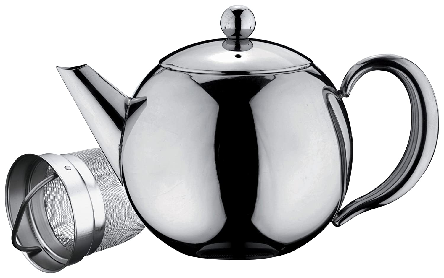 Café Ole Rondo Stainless Steel Tea Pot Easy Pour Teapot with Infuser Basket 17oz 500ml Grunwerg ST-017X