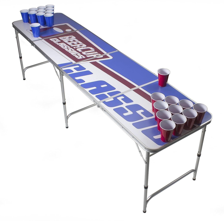 Beer Pong Tisch Set - Logo Table Design - Silber Line Beer Pong table