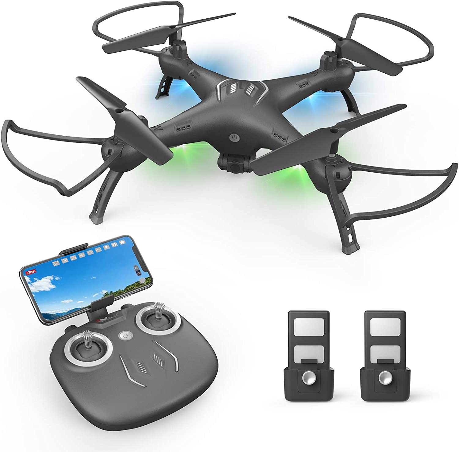ATTOP Drone with Camera 1080P HD, Toss to Launch RC Drone for Kids/Adults with Smart APP Trajectory Flight Altitude Hold One Key Take Off/Landing Headless 360°Flip Camera Drone 2 Batteries