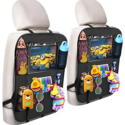 "Adevena Car Backseat Storage Organizer, Car Seat Back Protectors Kick Mat with 10"" Tablet Holder + 5 Storage Pockets Car Seat Organizer for Kids Toddlers Toy Bottle Drinks Vehicle Accessories, 2-Pack: Home Improvement"