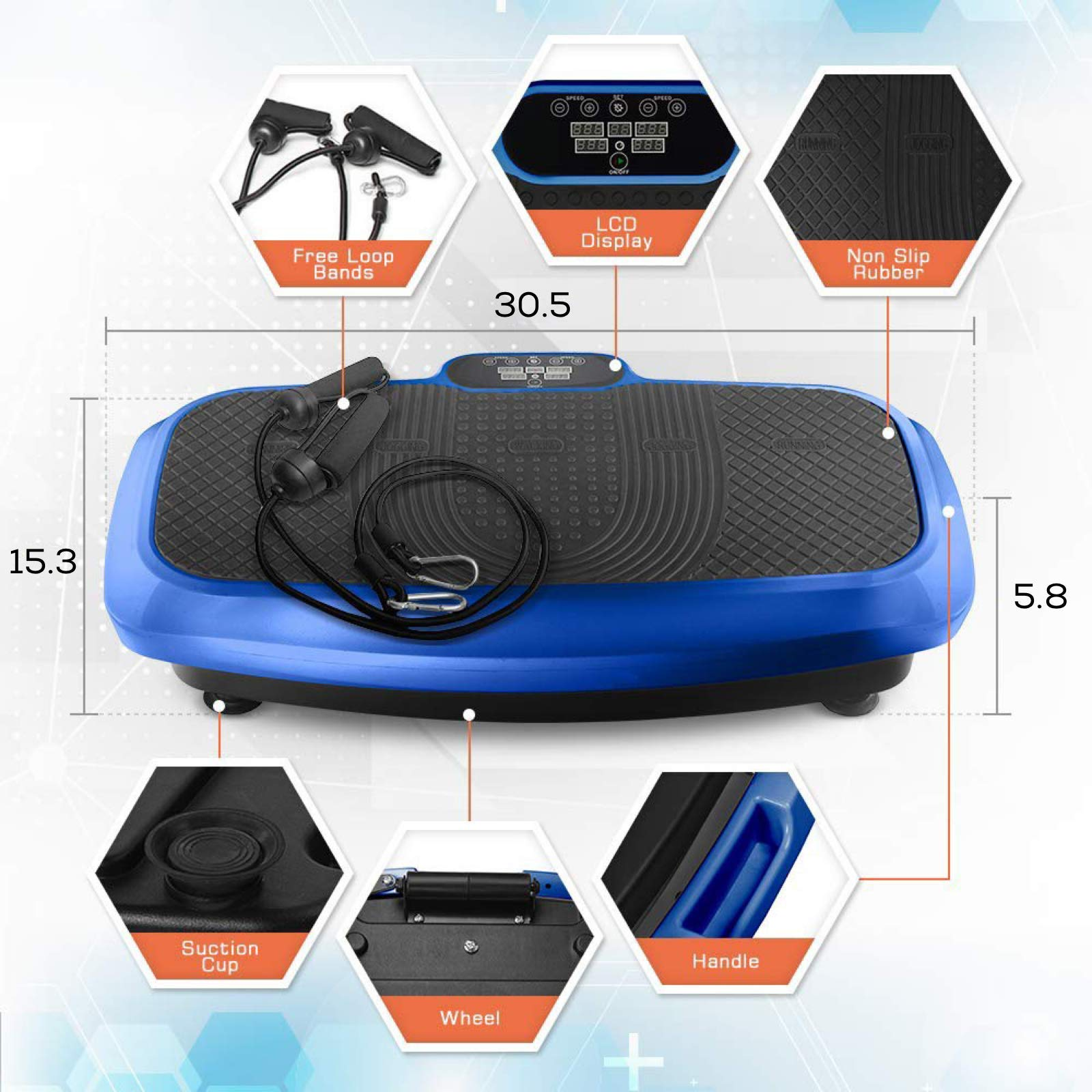 LifePro 3D Vibration Plate Exercise Machine - Dual Motor Oscillation, Pulsation + 3D Motion Vibration Platform   Full Whole Body Vibration Machine for Home Fitness, Weight Loss, Toning & Shaping. by LifePro (Image #5)