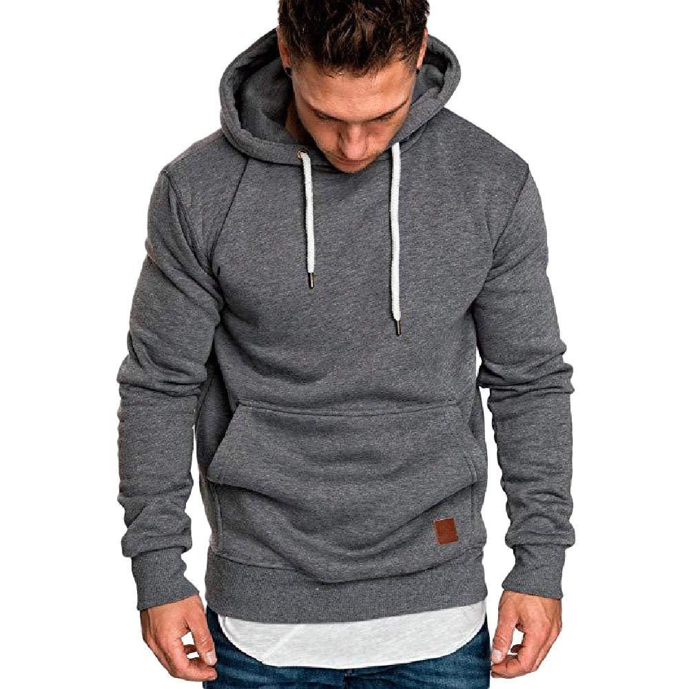 Men's Autumn Winter Sweatshirt Hoodies Hooded Top Blouse Tracksuits (US-M/CN-XL, Dark Gray)
